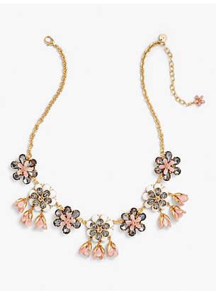 Talbots Marbled Blooms Statement Necklace - Rose Quartz