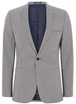 Topman Mens Black and White Houndstooth Ultra Skinny Suit Jacket