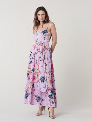 Diane von Furstenberg Azalea Silk Jersey Combo Maxi Dress