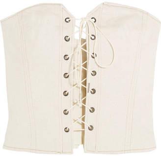 Isabel Marant - Pryam Lace-up Cotton-blend Twill Corset - Ecru $485 thestylecure.com