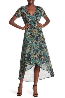 Amelia Floral Short Sleeve Hi-Lo Midi Dress