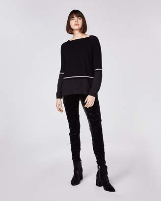 Nicole Miller Knit To Woven Boat Neck Sweater