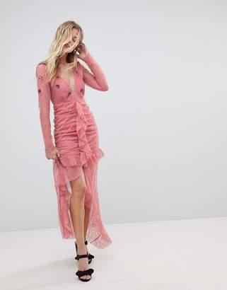 For Love & Lemons Plunge Lace Midi Dress
