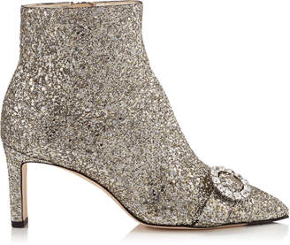 Jimmy Choo HANOVER 65 Chai Shadow Coarse Glitter Fabric Booties with Crystal Buckle