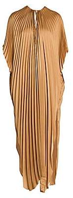 Stella McCartney Women's Pleated Tie-Waist Satin Maxi Dress