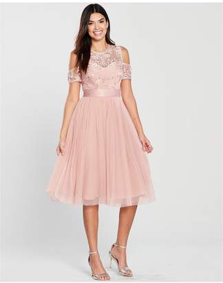 Very Bridesmaid Cold Shoulder Prom Dress - Blush