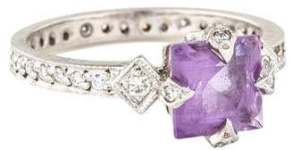 Cathy Waterman Platinum Amethyst & Diamond Ring