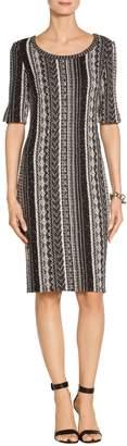 St. John Vertical Ombre Stripe Tweed Knit Dress