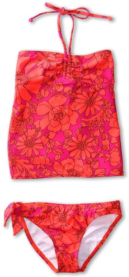 Roxy Kids - Sea Doll Drawstring Tankini Set (Big Kids) (Pop Orange) - Apparel