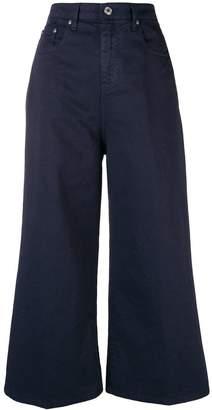 MSGM denim detailed cropped palazzo pants