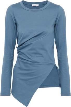 Jil Sander Asymmetric Ruched Stretch-Cotton Jersey Top