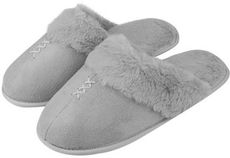 Ru Slippers Women's Comfy and Soft Slip-On Plush Luxury Spa Slippers With Closed Toe (Gray) (US Women's Size 9)