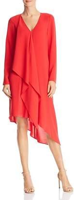 Adrianna Papell Asymmetric Gauzy Crepe Dress