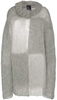 Ann Demeulemeester oversized turtle neck mohair cotton-blend sweater