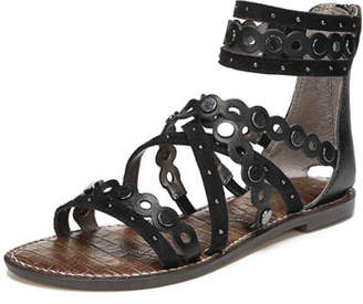 Sam Edelman Geren Modena Leather/Suede Flat Caged Sandal