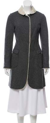 Brunello Cucinelli Shearling-Trimmed Wool Coat