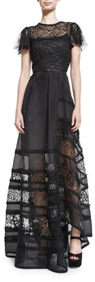 Jason Wu Lace-Inset Short-Sleeve Ball Gown, Black $5,495 thestylecure.com
