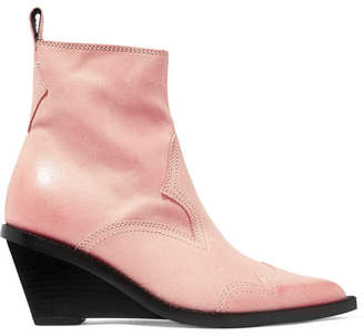 db484420c805 MM6 MAISON MARGIELA Nubuck Wedge Ankle Boots - Pastel pink