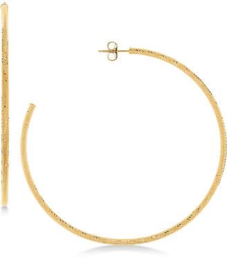 Macy's Textured Skinny Hoop Earrings in 14k Gold