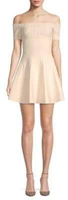 Ronny Kobo Karin Off-The-Shoulder Textured Striped Dress