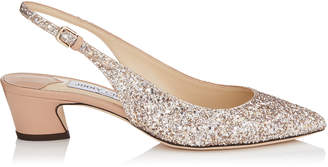 Jimmy Choo GEMMA 40 Ballet Pink Shadow Coarse Glitter Fabric and Nappa Leather Slingback Pumps