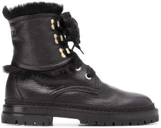 AGL fur-trimmed lace-up boots