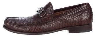 Salvatore Ferragamo Python Gancini Loafers