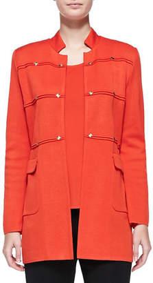 Misook Studded Long Jacket, Blood Orange