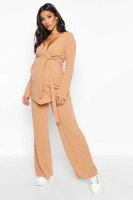 boohoo Maternity Tie Waist Wide Leg Rib Lounge Set