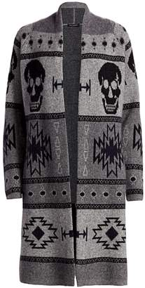 360 Cashmere Willa Skull Intarsia Wool & Cashmere Cardigan