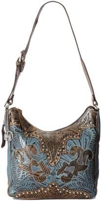 American West Annie's Secret Hobo Bag, Distressed Charcoal/Denim Blue