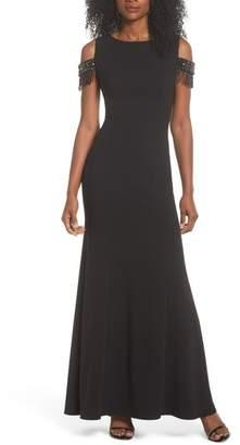 Eliza J Beaded Sleeve Cold Shoulder Gown