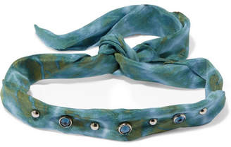 Dannijo Iris Tie-dyed Voile, Oxidized Silver-plated And Swarovski Crystal Choker - Green