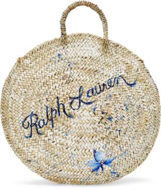 Ralph Lauren Hand-Painted Raffia Tote Bag