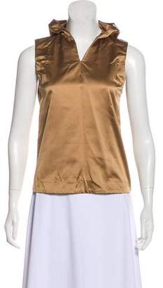 Miu Miu Satin Hooded Sleeveless Top