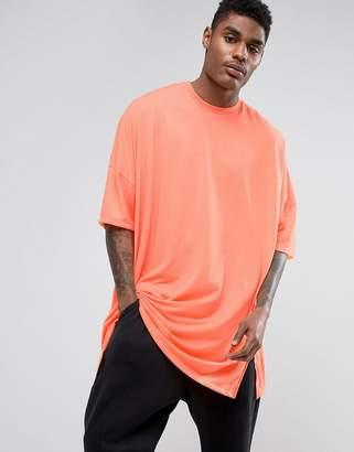 Asos Extreme Oversized Super Longline T-Shirt In Acid Orange