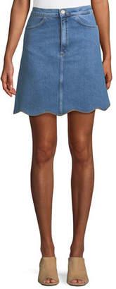 MiH Jeans Lennie A-Line Scalloped-Hem Denim Skirt