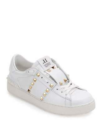 Valentino Rockstud Untitled Leather Sneakers, White