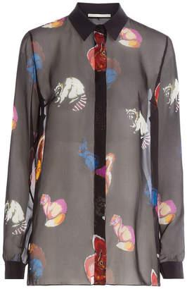 Marco De Vincenzo Printed Silk Chiffon Blouse