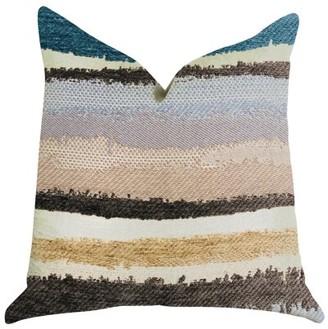 Plutus Brands Plutus Blue Stone River Sand Multi Color Luxury Throw Pillow