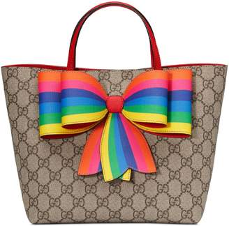 Gucci Children's GG Supreme rainbow bow tote
