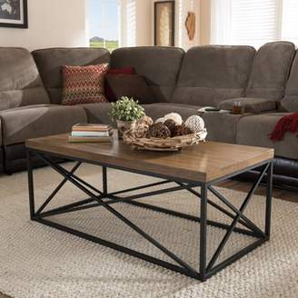 Baxton Studio Holden Vintage Industrial Metal and Wooden Bronze Coffee Table