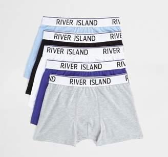 River Island Mens Blue RI waistband trunks multipack