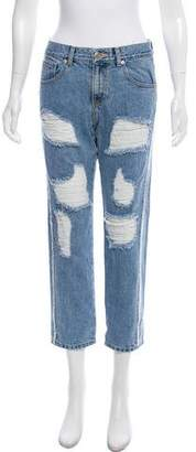 Sjyp Mid-Rise Distressed Jeans