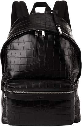 Saint Laurent Leather Croc Embossed Backpack