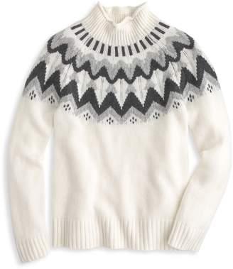J.Crew Mock Neck Fair Isle Cashmere Sweater