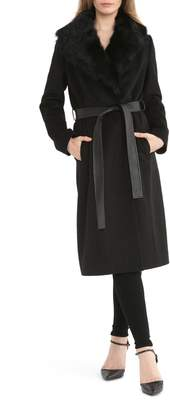 Badgley Mischka Collection Wrap Coat with Genuine Lamb Fur Collar