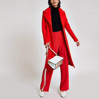 River Island Womens Red wool belted robe coat