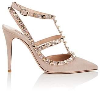 Valentino Women's Rockstud Suede Ankle-Strap Pumps