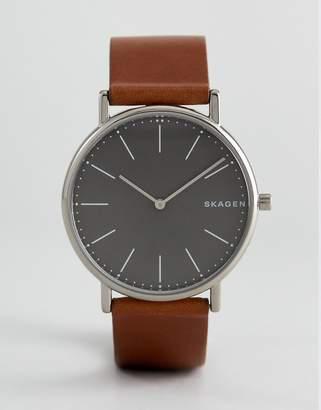Skagen SKW6429 Signatur slim leather watch in tan